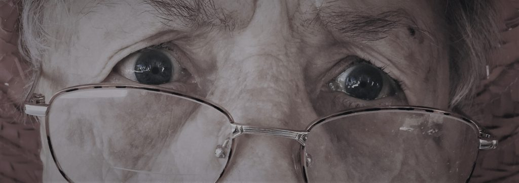 sty old eyes with glasses